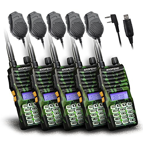Baofeng - 5PCS UV-5XTP 8W Dual Display VHF136-174MHz UHF400-520MHz Handheld Two-way Radio Standby Transceiver Walkie Talkie+Dual PTT Mic Speaker+Programming Cable (Motorola Antenna Plug compare prices)