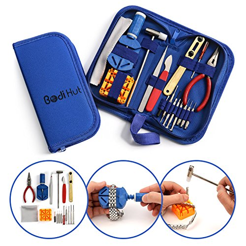 Bodi Hut Watch Repair Tool Kit with Strong Storage Case, Microfibre Cleaning Towel and Full Step By Step Instructions (16 pieces) (Watch Link Remover Kit With Case compare prices)