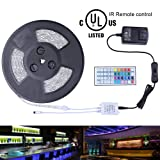 Miheal Waterproof 5050 SMD 32.8ft (10m) RGB LED Strip Light Kit, Color Changing White PCB Rope Lights+44-Key IR Controller+ Power Supply for Home,Kitchen,Truck and Bedroom Decoration (Color: 10m White, Tamaño: 5050)