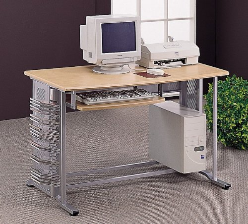 Coaster Brushed Computer Desk/Workstation Table with Pull Out Keyboard Tray, Aluminum Finish
