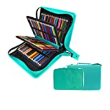 200 + 16 Slots Pencil Case & Extra Pencil Layer Holder - Bundle for Prismacolor Watercolor Pencils, Crayola Colored Pencils, Marco Pens and Cosmetic Brush by YOUSHARES (216 Slots Green) (Color: 216 Slots Green)