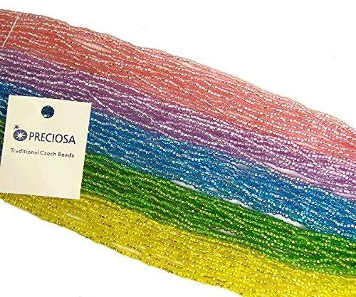 Czech 11/0 Glass Seed Beads - Pastel Silver Lined Mix (5 X 6-string Hanks) Preciosa Jablonex