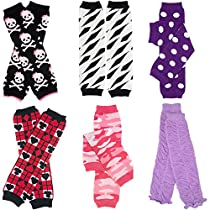 6 Pack Baby Girls juDanzy leg warmers polka dots, skulls, zebra, Ruffles, and Camo