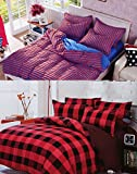 Home Basics Colours Red & Red 2 Bedsheets with 4 Pilllow Covers