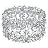 EVER FAITH® Women's Crystal Bride Heart Art Deco Elastic Stretch Bracelet Clear Silver-Tone