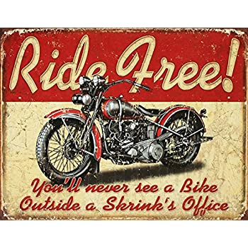 Ride Free Motorcycle Tin Sign 13 x 16in