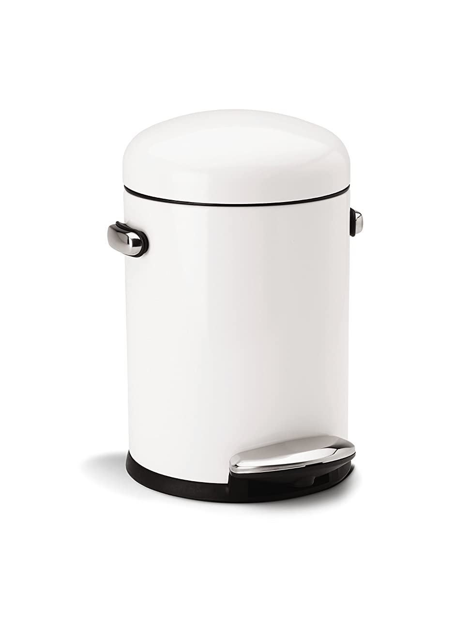 simplehuman Round Retro Step Trash Can, White Steel, 4.5 L / 1.2 Gal 0