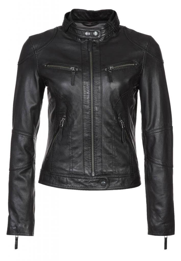 Vintage Women's Slim Biker Motorcycle Real Leather Zipper Jacket W164 0