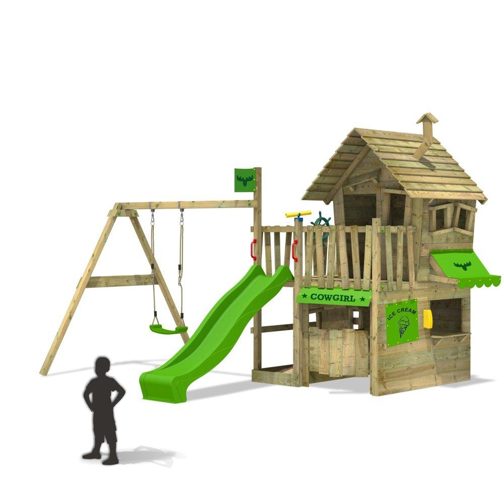 FATMOOSE CountryCow Maxi XXL Spielturm Kletterturm Schaukel Baumhaus Spielhaus (Rutschenfarbe: Hellgrün) günstig bestellen
