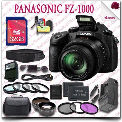 Panasonic Lumix DMC-FZ1000 Digital Camera + 32GB SDHC Class 10 Card + SLR Gadget Bag + Close Up Macro Set + Wide Angle Lens / Telephoto Lens + 3pc Filter Kit + External Slave Flash + Neoprene Neck Strap + HDMI Cable 23pc Panasonic Saver Bundle (Panasonic Dmc 1000 compare prices)