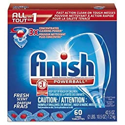 RECKITT BENCKISER PROFESSIONAL Powerball Dishwasher Tabs, Fresh Scent, 60 Tabs/Box, 4 Boxes/Carton (81158)