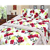 Cosmosgalaxy Cotton Double Bedsheet With Pillow Covers - Queen Size, Multicolor - B00SWKMQCU