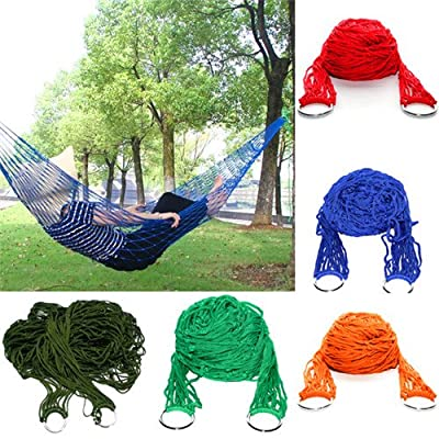 ELEGIANT Nylon Hammock Hanging Mesh Net Sleeping Bed Swing Outdoor Camping Picnic Travel