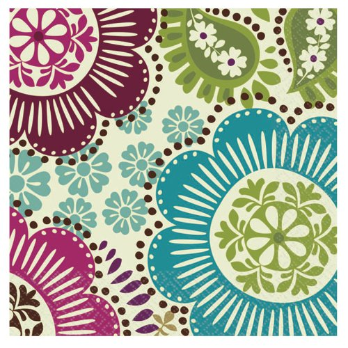 "Amscan Disposable Beverage Napkin In Fashion Floral Print (16 Piece), 5 x 5"", Multi"