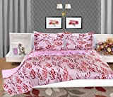 Bellagio Elegance Cotton 1 Double Bed Sheet & 2 Pillow Covers (White and Red)