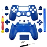 YICHUMY Replacement Parts Matte Blue Full Controller Shell +Screwdriver For PS4 Pro PS4 Slim Controller Housing Shell Case Full Button Kit for PlayStation 4 slim DUALSHOCK 4 SILM Controller JDM-040 (Color: Blue, Tamaño: m)