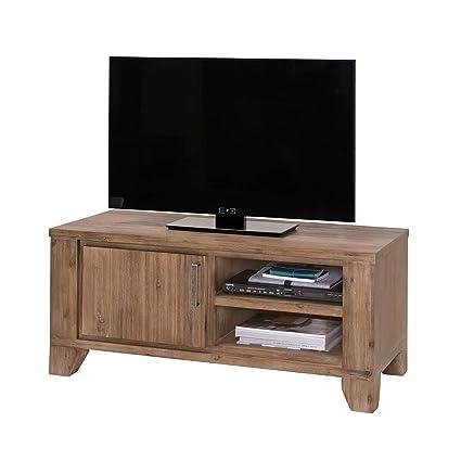 TV Lowboard Braun TV Bank im modernen Landhausstil Massivholz Holz Akazie massiv 110 cm Breit