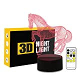 Circle Circle 3D Optical Illusion Lamp 7 Colors Change Touch Button and 15 Keys Remote Control Creative Horse Art Sculpture Visual LED Night Light (Color: Horse)