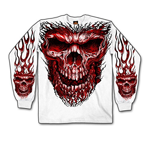 Shredder Skull Jumbo Print White Long Sleeve Tee Shirt Large