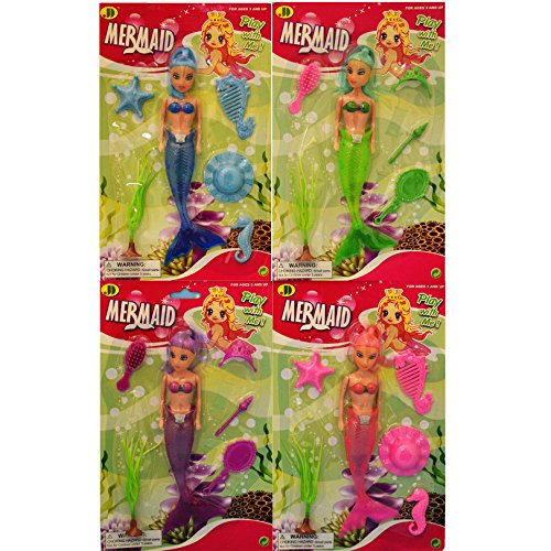 4 Pack Affordable Little Mermaid Toy Doll Gift Set Stocking Stuffer Christmas Gift Idea For Girls 4 Pack. Guaranteed To Delight. Best Vacation Pool & Beach Toy For Girls (Mermaid 4 Pack) front-30634