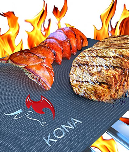 Kona® Best Bbq Grill Mat - Set Of 2 Mats - Up To 400% Thicker Than Miracle, Yoshi, Others Plus 2,000 Uses - Free 7Yr Replacement - For Grilling Meat, Veggies, Seafood, Pizza - No Fall Through, No Flame Ups, Non-Stick - Dishwasher Safe 100% Guaranteed