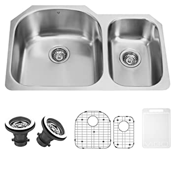 VIGO 31 inch Undermount 70/30 Double Bowl 18 Gauge Stainless Steel Kitchen Sink with Two Grids and Two Strainers