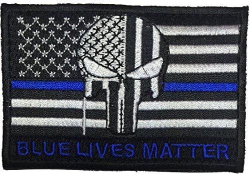 buy Patch Squad Men's Tactical USA Flag Bleeding Punisher Blue Lives Blue Line Patch for sale