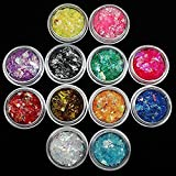 12 Colors Nail Glitter Ice Mylar Shell Foil Slice Nail Art Decoration Tools (12 color)