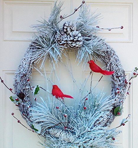Winter Serenity Flocked Snowy Led Lighted Christmas Wreath With Cardinals