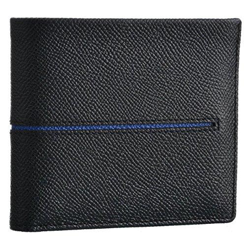 TOD'S(トッズ) 財布 メンズ カーフスキン 2つ折り財布 ブラック×ブルー CHBB300-DOU-118X [並行輸入品]