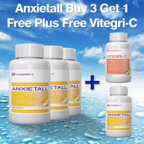 Anxietall Buy 3 Get 1 Free Plus Free Vitegri-C - Natural Mood Stabilizing Supplement Formulated With Kava Kava, 5 Htp, L-Theanine, Passionflower, Valerian - Calming, Tranquil And Uplifting Formula - Supports Sleep And Restlessness - Natural Relaxant - Red