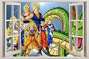 Dragon ball z 3d window view decal wall for Dragon ball z mural