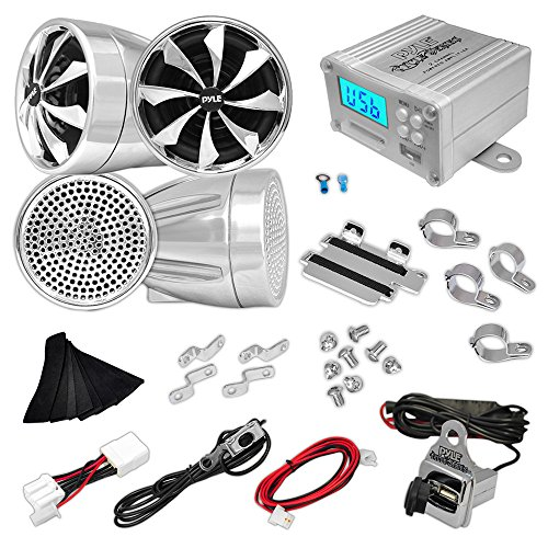 Pyle Plmca98 600 Watts Motorcycle/Atv 4 Channel Amplifier With Handlebar Mount Speakers, Fm/Mp3/Ipod/Usb/Sd And Usb Charger - Set Of 2