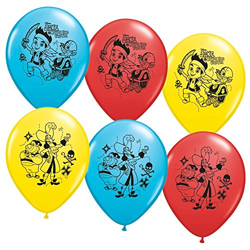 "Pioneer National Latex Jake and The Never Land Pirates 6 Count 12"" Latex Balloons, Assorted"