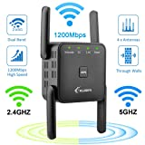 WiFi Extender- WiFi Range Extender Up to 1200Mbps, WiFi Signal Booster, Latest 2.4 & 5GHz Dual Band 1200Mbp WiFi Repeater with Access Ethernet Port, 360° Full Coverage, Easy Set-Up. (Color: Black)