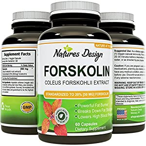Pure Forskolin Extract, Highest Pharmaceutical Grade ★ Recommended Dosages ★ 250mg at 20 Percent Standardization - Best Formula for Weight Loss ★ Premium Potency & Quality for Women & Men ★ Fully Guaranteed By Natures Design