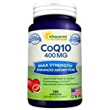 Pure CoQ10 (400mg Max Strength, 100 Capsules) - High Absorption Coenzyme Q10 Ubiquinone Supplement Pills, Extra Antioxidant CO Q-10 Enzyme Vitamin Tablets, Coq 10 for Healthy Heart & Blood Pressure