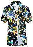 APTRO(アプトロ)メンズ アロハシャツ オシャレ メンズシャツ フローラル ワイシャツ プリントシャツ ハワイ風 半袖シャツ 通気速乾 UV対策 ST19ホワイト JP L(タグ S)