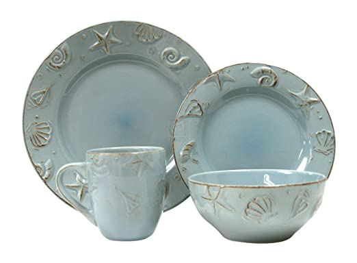 Christmas Tablescape Decor - Cape Cod Aqua Blue 16-Pc Pottery Dinnerware Set with Raised Seashell Design