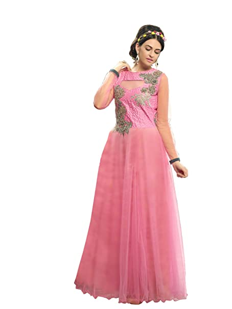 70254d958b Blissta Baby Pink partywear Anarkali Long Net Gown Dress material available  at Amazon for Rs.