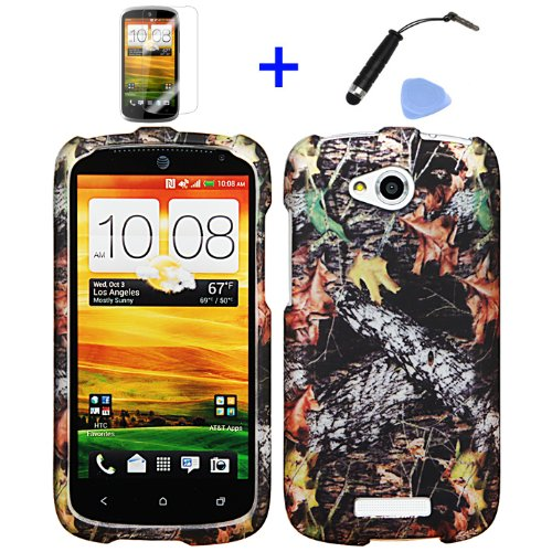 4 Items Combo: Mini Stylus Pen + Lcd Screen Protector Film + Case Opener + Outdoor Wildlife Leaves Oak Wood Camouflage Design Rubberized Snap On Hard Shell Cover Faceplate Skin Phone Case For At&T (Htc One Vx) Will Fit One Vx Model Number Only!