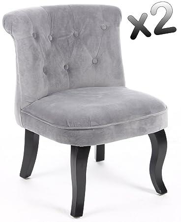 Lot de 2 fauteuils crapaud velours gris, H63 x P57 x L51 cm -PEGANE-