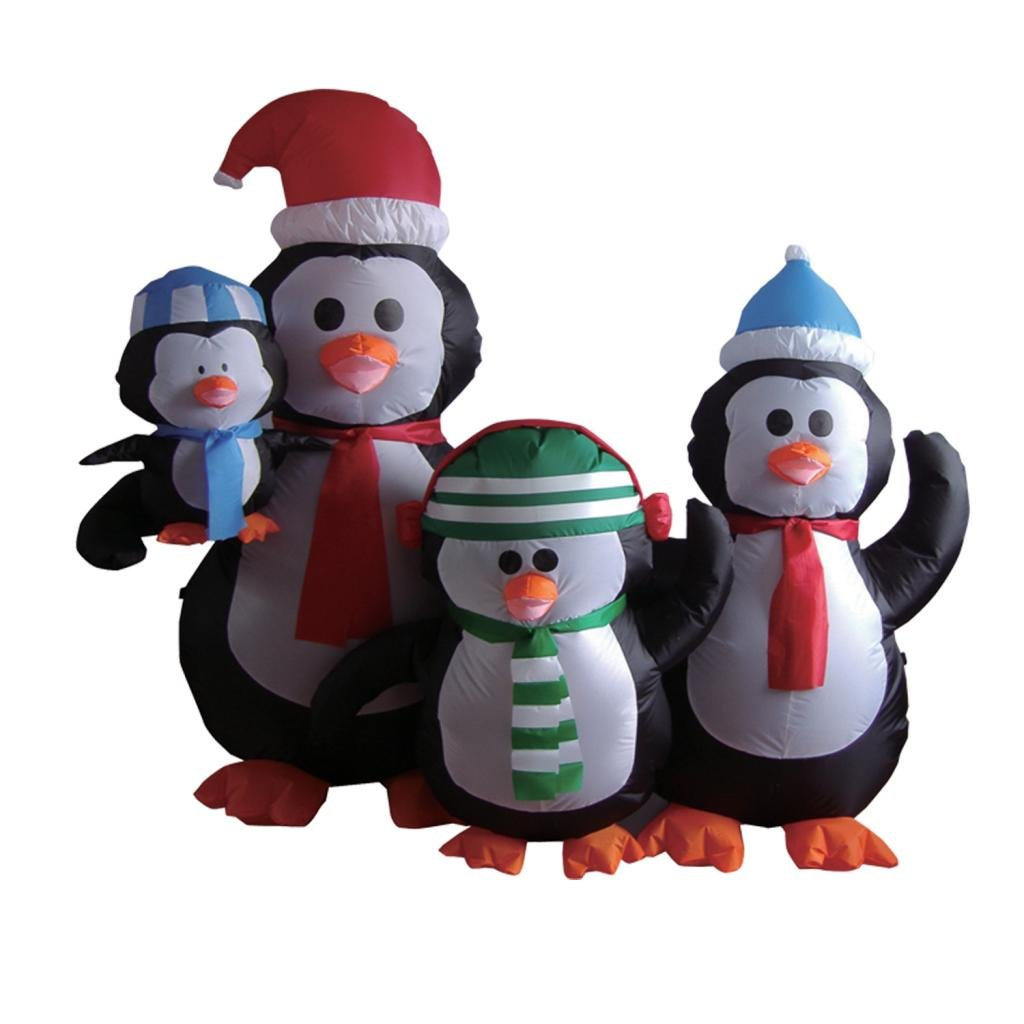 8 Airblown Inflatable Santa Penguin Coffee Shop Igloo: Christmas Penguins Outdoor Inflatables