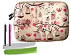 ColorYourLife Bundle of Free Birds Printed Laptop Sleeve Case Bag for Microsoft Surface 2 Surface Pro Surface RT and Sony Xperia Tablet Z / Asus Transformer Prime / Asus MeMO Pad Smart 10 / Acer Iconia A3 with 2 Stylus pens and Microfiber Cleaning cloths (Pink birdcage, 10.8 inch)