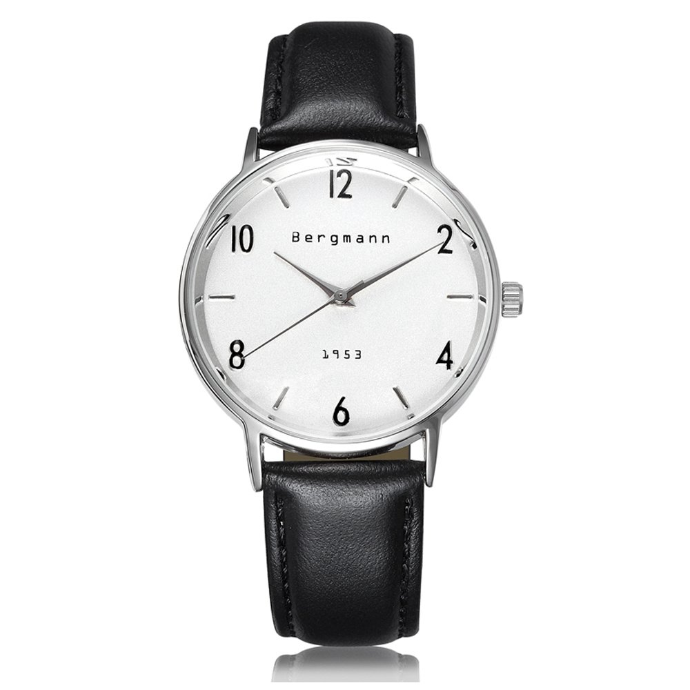 Bergmann Brand Vintage Mens Watches Silver Dial Black Leather Wrist Watch Classic 1953 1