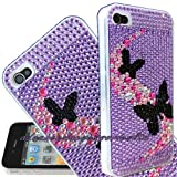 FOR IPHONE 4 4G 4S 16GB 32GB BLACK BUTTERFLY LILAC BACK JEWELLED RHINESTONE DIAMOND HARD CASE CRYSTAL DIAMANTE BLING BACK COVER