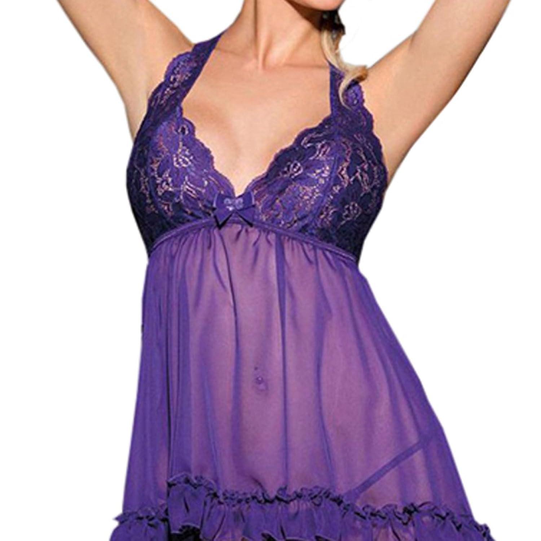 Damenunterwäsche –  Babydoll mit Tanga – Hosenträger durch die Hals –  lila mit Spitzen und Borten – bestellen