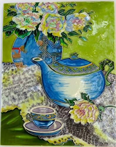 "11"" X 14"" High Gloss, Raised Image, Unique, Handcrafted, Decorative, Ceramic, Artist Tile, Wall Plaque, with Hanger / Stand, Blue Teapot - 1"
