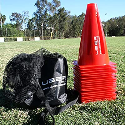 "Sports Training Orange Cones, 9"" - (20 Qty + Carry Bag)"