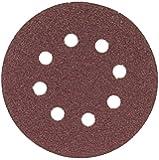 Bosch SR5R080 Random Orbit Sander Hook and Loop 8 Hole Disc 5-Inch 80 Grit Sand Paper, Red, 5-Pack